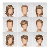För framsidaAvatar för vektor multinationella manliga kvinnliga huvud för profil med den mångfärgade uppsättningen för hårsymbols Royaltyfri Foto