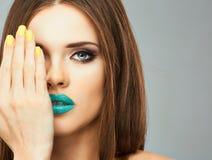För framsidakvinna för slut övre modell i skönhet royaltyfri bild