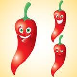 För framsidauttryck för röd peppar tecken för tecknad film - uppsättning Arkivfoton