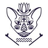 För framsidavektor för egyptisk katt sakralt djur av forntida Egypten, kattframsida med den egyptisk hieroglyfisk för tatueringka Royaltyfria Foton