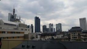 för frankfurt för område finansiella skyskrapor horisont Fotografering för Bildbyråer