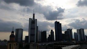 för frankfurt för område finansiella skyskrapor horisont Royaltyfri Fotografi