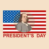 För franklin för presidentdagflagga lägenhet för illustration vektor vektor illustrationer