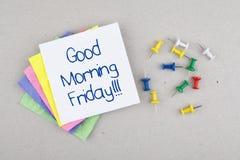 För fredag för bra morgon meddelande anmärkning/sista dag av veckan Royaltyfri Bild
