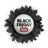 för fredag för svart 3d design för etikett försäljning Svarta realistiska höstsidor också vektor för coreldrawillustration Vektor Royaltyfri Bild