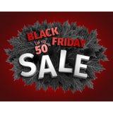för fredag för svart 3d design för etikett försäljning Svarta realistiska höstsidor också vektor för coreldrawillustration Vektor Arkivfoto