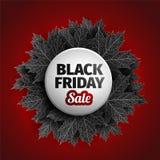 för fredag för svart 3d design för etikett försäljning Svarta realistiska höstsidor också vektor för coreldrawillustration Vektor Arkivbild