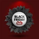 för fredag för svart 3d design för etikett försäljning Svarta realistiska höstsidor också vektor för coreldrawillustration Vektor Royaltyfri Foto