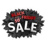 för fredag för svart 3d design för etikett försäljning Svarta realistiska höstsidor också vektor för coreldrawillustration Vektor Arkivbilder