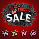 för fredag för svart 3d design för etikett försäljning Svarta realistiska höstsidor också vektor för coreldrawillustration Vektor Royaltyfria Bilder