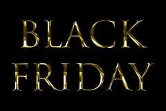 För fredag för gul guld för tappning metallisk svart text ord med ljus reflex på svart bakgrund med den alfabetiska kanalen, begr vektor illustrationer