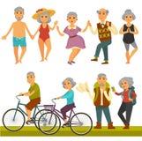 För fritid- och sportaktivitetsliv för äldre folk rolig stil stock illustrationer
