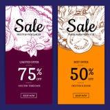 För frukt- och grönsakförsäljning för vektor handdrawn reklamblad Royaltyfria Bilder