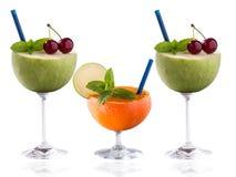 För fruktcoctail för färgrikt vitamin rikt begrepp Fotografering för Bildbyråer