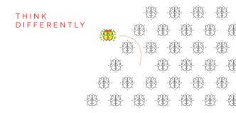 För funderare begrepp olikt Ändrande riktning för idérik hjärna Royaltyfri Bild