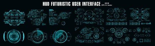 För futuristisk skärm för teknologi för virtuell verklighet för skärm hudinstrumentbräda för science fiction blå stock illustrationer