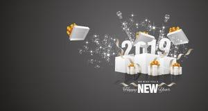 För fyrverkeriask för lyckligt nytt år vektor 2019 för kort för hälsning för landskap för svart vektor illustrationer