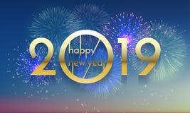 2019 för fyrverkerivektor för lyckligt nytt år guld- kort royaltyfri illustrationer