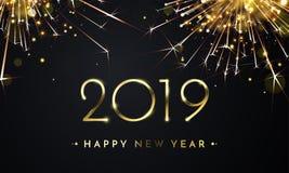 2019 för fyrverkerivektor för lyckligt nytt år guld- kort stock illustrationer