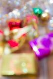 För gåvaask för Defocused jul och för nytt år suddigt abstrakt begrepp Royaltyfri Bild