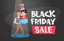 För gåvaaskar för man hållande bunt, baner för shopping för ferie för Black Friday Sale affischdesign royaltyfri illustrationer