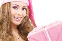 för gåvaflicka för ask gladlynt hjälpreda santa Arkivfoto