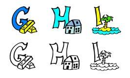 För G-H I för del 3 bokstäver för bok för färgläggning med bilder i tyskt och engelskt stock illustrationer