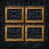 för gallerisammet för 4 svart ramar vägg för tappning Arkivbild