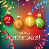 För garneringaffisch för glad jul kort 2018 Arkivbild