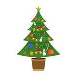 för garneringillustration för jul 3d tree Plan illustration för vektor Fotografering för Bildbyråer