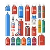 För gas-flaska och gas-cylinder för vektor LPG för gascylinder uppsättning illustration av den cylindriska behållaren med smält k stock illustrationer