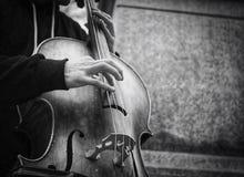 För gatamusiker för bas- spelare busker Royaltyfri Fotografi