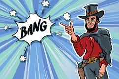 För gemkonst för tappning Retro cowboy för män bankade Skissa vektorillustrationen royaltyfri illustrationer