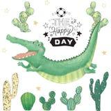 För gemkonst för krokodil digital gullig djur och kaktus Flyg Croc PartiTid text Afrikan för kort för hälsningberömfödelsedag rol vektor illustrationer