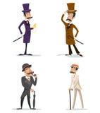 För gentlemanmöte för affär Retro tappning för viktoriansk för Storbritannien för engelska för uppsättning för symbol för tecken  vektor illustrationer