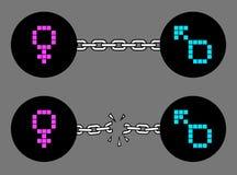 för genusillustration för begrepp 3d symboler Royaltyfri Bild