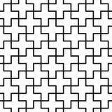 För geometrimodell för vektor moderna sömlösa tegelplattor för kors, svartvitt abstrakt begrepp Arkivfoto