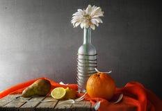 För gerberaflaska för stilleben vita frukter Royaltyfria Foton