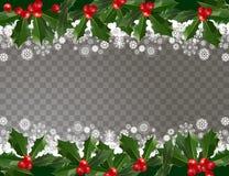 För girlandmodell för glad jul och för lyckligt nytt år gräns med järnekbär och snöflingor på genomskinlig bakgrund stock illustrationer