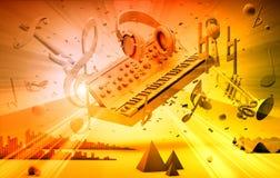 för gitarrillustration för begrepp elektrisk musik Arkivfoto