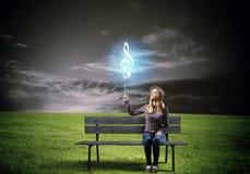 för gitarrillustration för begrepp elektrisk musik Arkivfoton