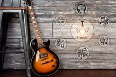 för gitarrillustration för begrepp elektrisk musik Fotografering för Bildbyråer