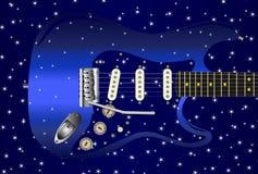 För gitarrstjärna för elkraft blå bakgrund vektor illustrationer