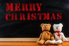` För glad jul för ` för meddelande för nallebjörn, Fotografering för Bildbyråer