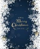 ` För glad jul för ` med massor av snöflingor på blå bakgrund royaltyfri illustrationer