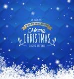 ` För glad jul för ` med massor av snöflingor på blå bakgrund vektor illustrationer