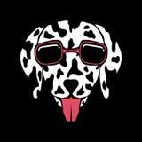 För glasögonvektor för hund Dalmatian illustration vektor illustrationer