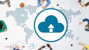 För globaliseringanslutning för moln beräknande begrepp för teknologi royaltyfri illustrationer