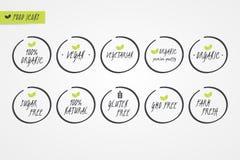 för GMO för 100% ny etikett för organisk naturlig glutensocker lantgård fri strikt vegetarian vegetarisk Matlogosymboler Isolerat Royaltyfri Illustrationer