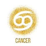 För gnistrandevektor för cancer guld- tecken för zodiak vektor illustrationer